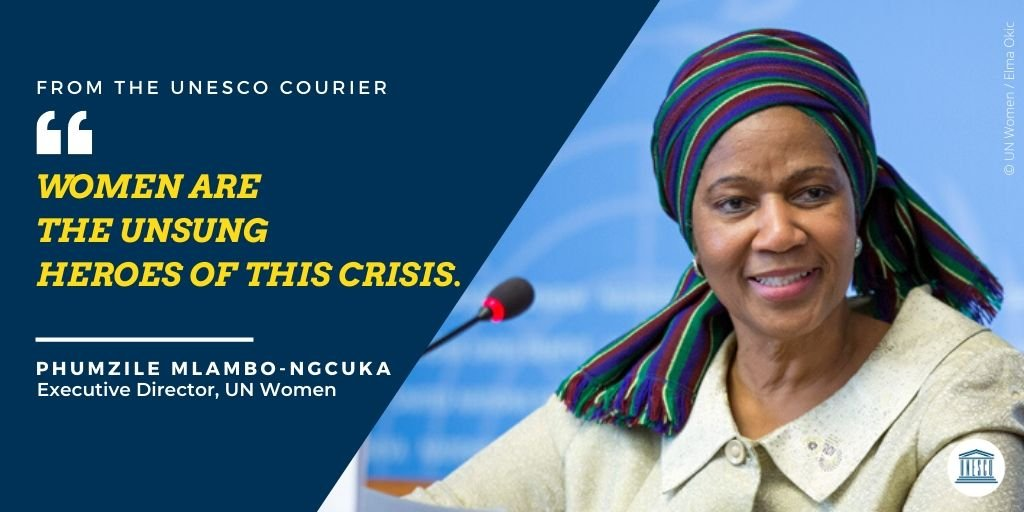 The health crisis, and the subsequent widespread lockdowns worldwide, have led to a surge in violence against women.   @phumzileunwomen, @UN_Women Chief, explains in the @UNESCOCourier why working towards #GenerationEquality is more important than ever: