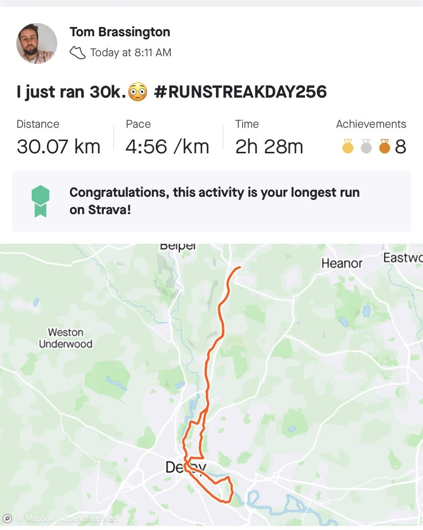 Today I ran my longest distance ever. How many cakes can I eat today?