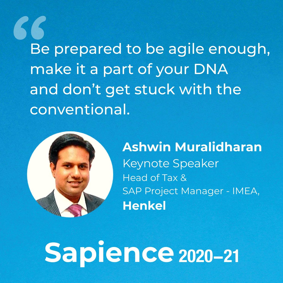 Honoured to have Mr. Ashwin Muralidharan, Head of Tax & SAP Project Manager-IMEA, Henkel, as the #keynote #speaker, addressing the #newnormal of 'Business as Usual' in inauguration of #Sapience2020  #GreatLakesGurgaon #InnovationInCrisis #BSchools #IndustryTalk #businessstrategy