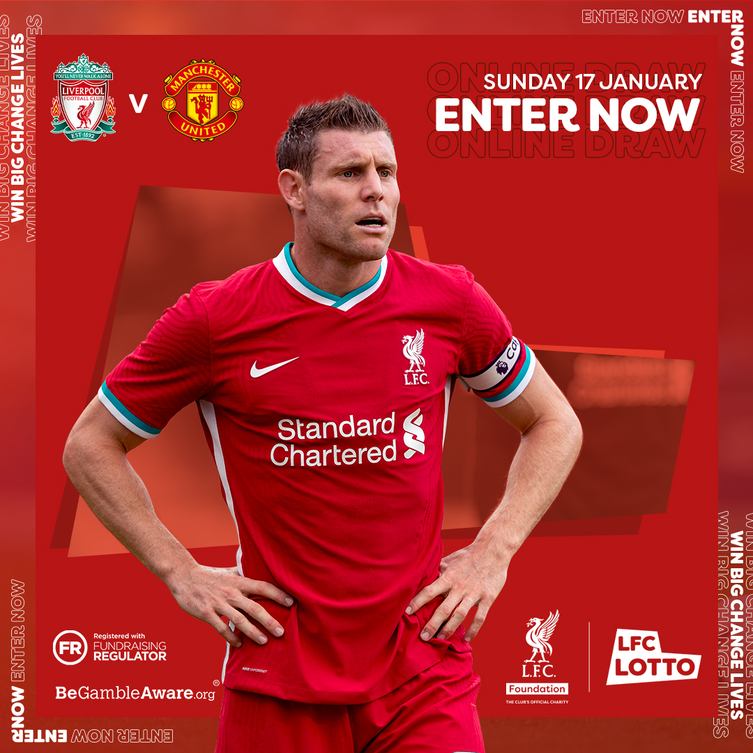 Huge game today Reds!🤩⚽️  In today's @LFCLotto Matchday Draw, you can win an @LFC Home Shirt signed by @JamesMilner 🙌  Find out how to play & what you help support:  ❤️  UK Only 16+