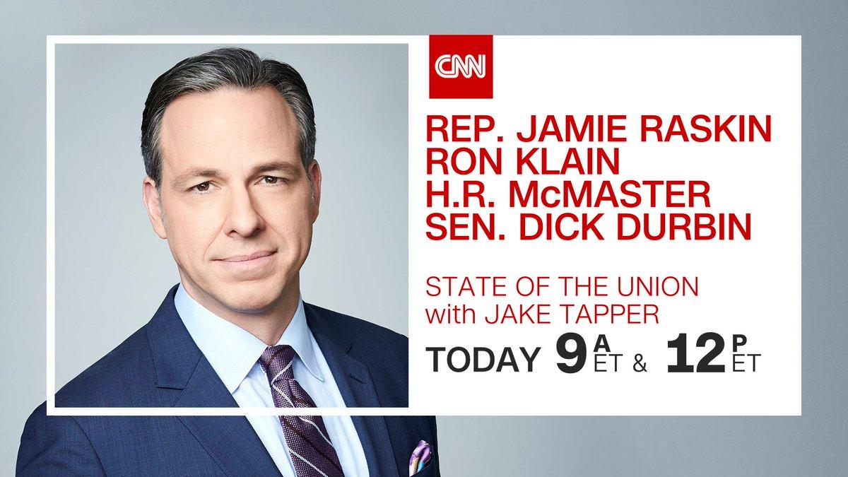 Good Morning! Today on #CNNSOTU w/ @jaketapper:   ➡️ @RepRaskin   ➡️ @RonaldKlain   ➡️ @LTGHRMcMaster   ➡️ @SenatorDurbin   Tune in on 📺 @CNN, 🌎🌍🌏 @cnni, 🎧📻 @radiodotcom, @tunein, @SIRIUSXM Ch. 116 & 🖥️💻📲 !