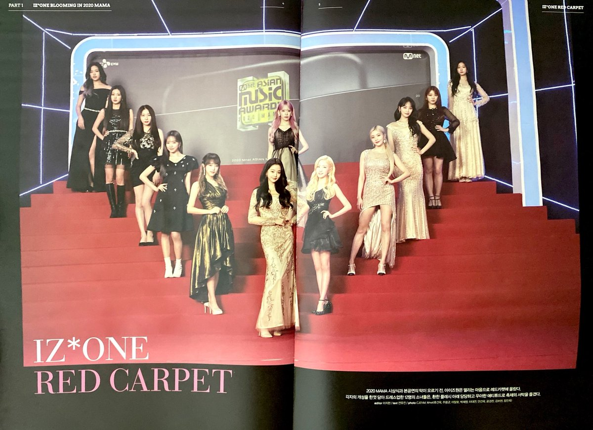 This is scan photos when IZ*ONE on MAMA2020's red carpet and photos for behind the stage *La Vie en Rose, Violeta, and Fiesta.* Me, Chaeyeon, Minjoo, and Hitomi were there to fill in the stage photos for the Fiesta song. It's a good memory to fill the new page of 1st Look. https://t.co/RhDsMPO7oT