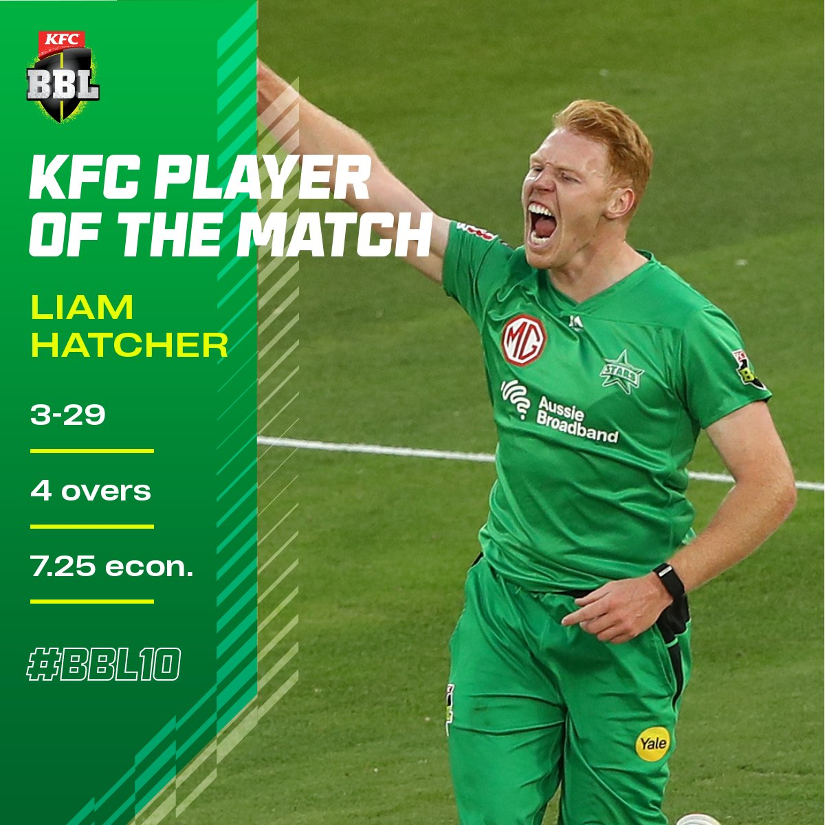 Liam Hatcher restricted the 'Gades batters brilliantly!   He's tonight's @KFCAustralia Player of the Match #BBL10 https://t.co/8xD0O9COPE