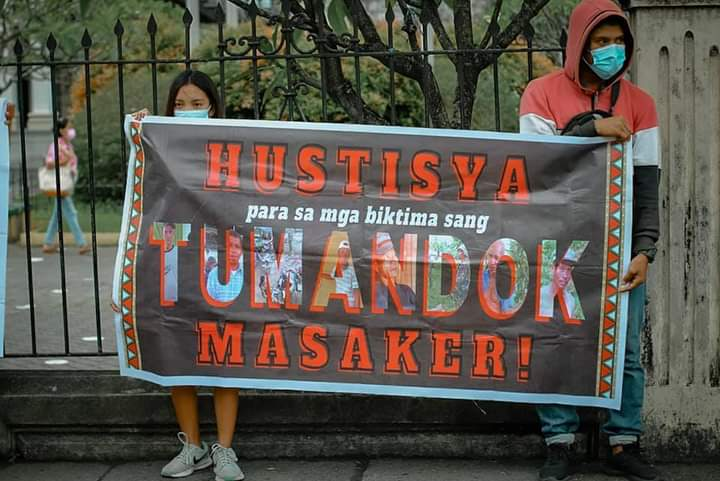 We call for justice for the 9 slain Tumandok leaders!  Three of the 9 were buried today. In line with this, a short program was held outside Jaro Cathedral, Iloilo City, and in other cities.  #JusticeForTumandok9 #ReleaseTumandok16 #DefendPanay #LayasMilitar #StopTheKillingsPH
