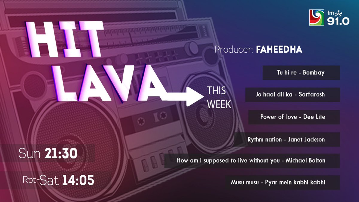 This week on #HitLava Enjoy this collection with RJ Fahee 👇😊 #NewRadioShow only on @DhivehiFM https://t.co/3EPDCuY0CS