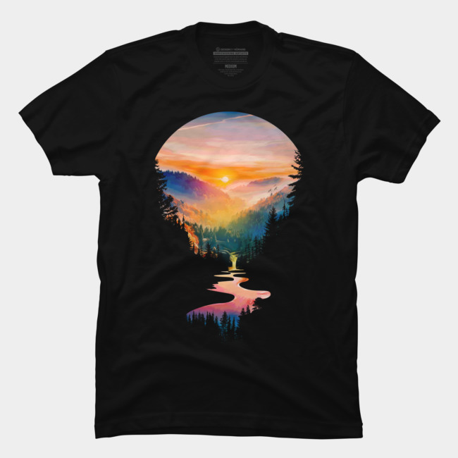 Summer Sunrise @designbyhumans by @Boby_Berto  #summer #sun #lanscape #sunrise #river #mountain #trees #sky #tshirt #clothing #lanscape #relax #nature #silhouette #jungle #forest