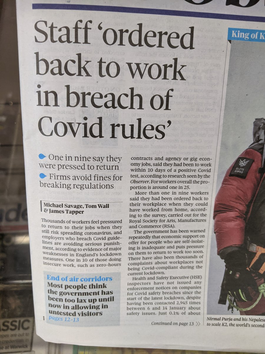 .@theRSAorg #futureofwork data on the front page of The Observer today. So many problems revealed with the current social contract over the past year. More required now on sick pay, cash supports and an even bigger rethink required after the pandemic. #COVID19 https://t.co/fIsS04S2dx