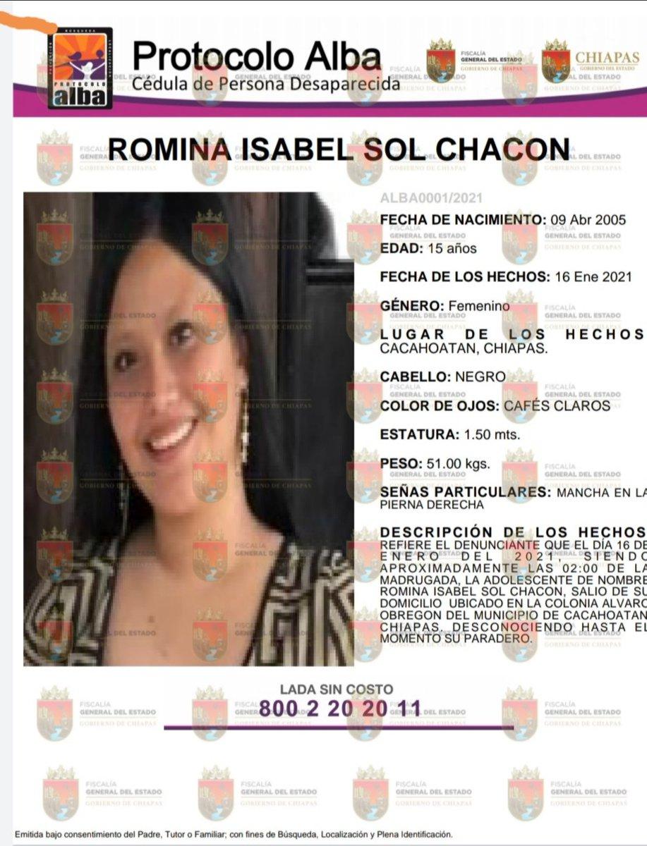 #CEDHChiapas  solicita su apoyo para localizar a Romina Isabel Sol Chacon, cualquier información que sirva para dar con su paradero cuenta, si la ha visto llame al 800 2 20 20 11. #Únete #DDHH