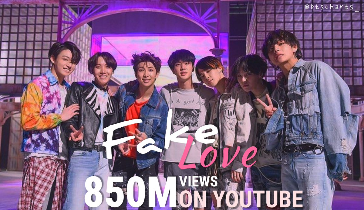 "[📈]  ""Fake Love"" by BTS telah melampaui 850 juta penayangan di YouTube, menjadi video musik ketiga mereka yang melakukannya👏🏻🎊🎊🎉  📎 . #BTS #ARMY #방탄소년단 @BTS_twt"