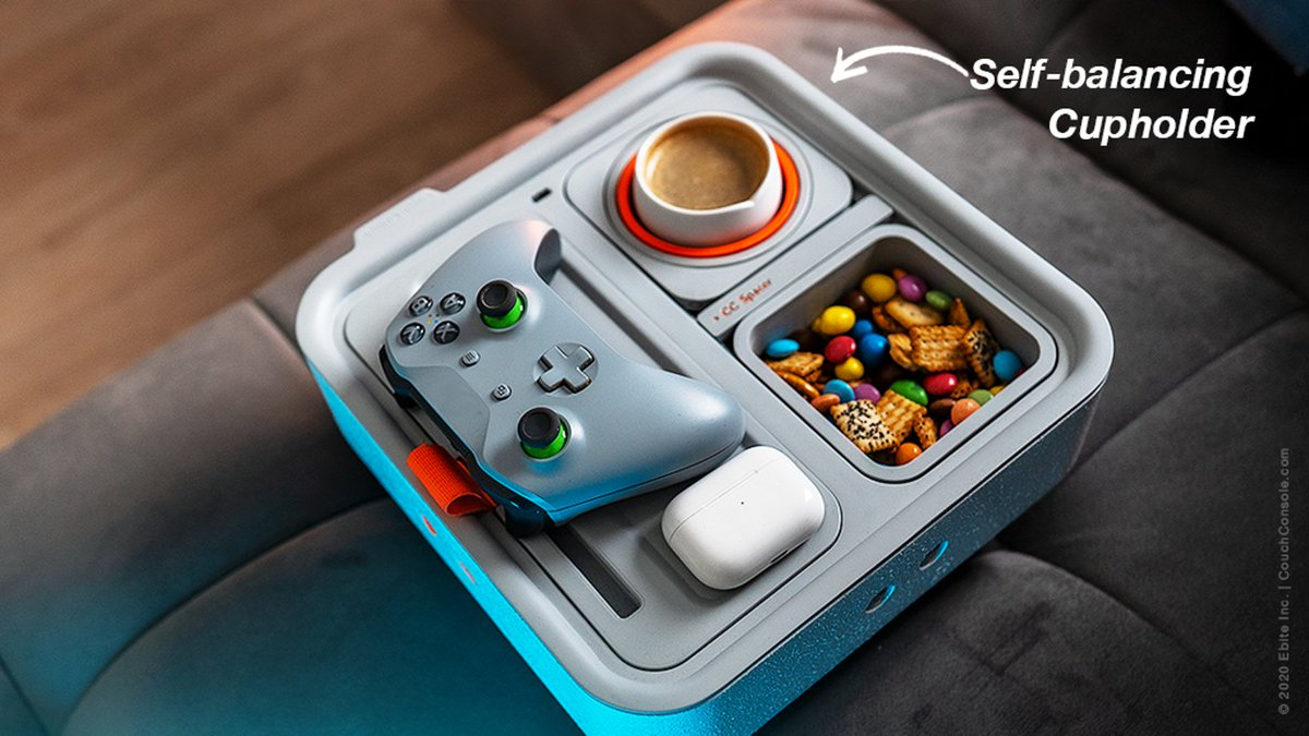 The Couch Console  Self-balancing cupholder, snack holder, phone stand, charging dock, remote tray, storage pocket. All in a light, compact & modular pack   #dogsofinstagram #gaming #balancing #instagood #couchsurfing #selfies #rockbalancing #couche