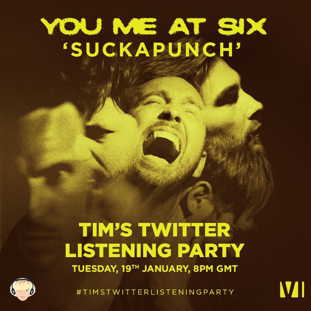 #SUCKAPUNCH ALBUM LISTENING PARTY. Join us and @Tim_Burgess this Tuesday at 8pm GMT to listen back to the album in full for a #TimsTwitterListeningParty. @LlSTENlNG_PARTY
