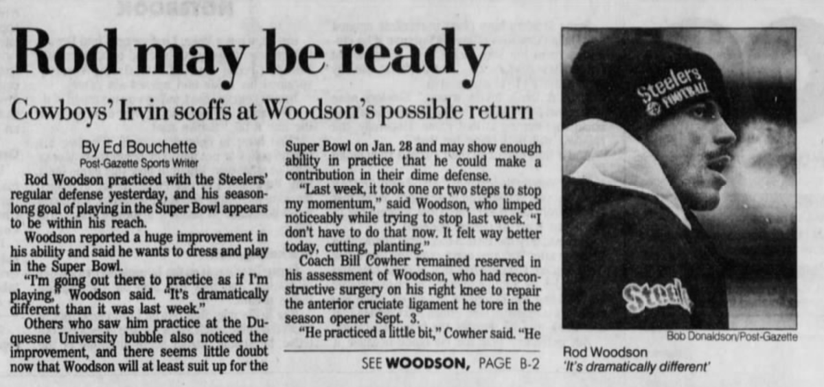 25 years ago (1/17/96): Woodson practices with #Steelers' regular defense. #HereWeGo