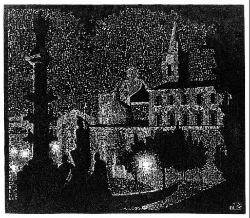 Nocturnal Rome, Santa Maria del Popolo, 1934 #escher #realism