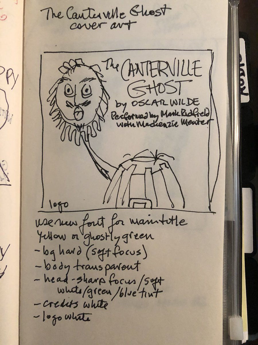 Thumbnail #sketch for #audiobook cover #art for THE CANTERVILLE GHOST by #OscarWilde performed by Mark Redfield & Mackenzie Menter. Coming to Audible February 2021!