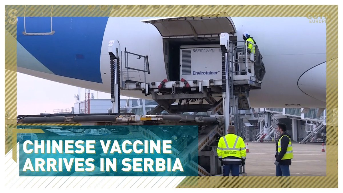 The first batch of one million doses of a COVID-19 vaccine developed by China's Sinopharm arrived in Serbia on Saturday. The vaccinations will start once the vaccine gets a final approval by Serbia's Agency for Medicines and Medical Devices.