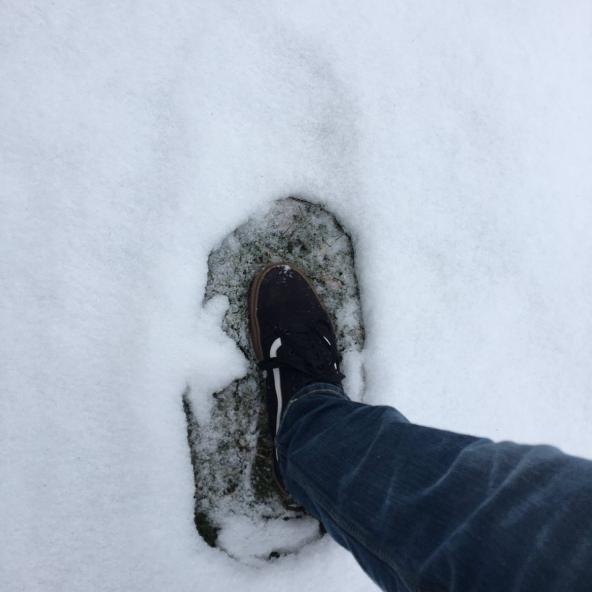 Hey kids...a week ago I took steps in the snow...now the footprint is MUCH bigger than my foot! What do you think happened? #Science #STEM #weather