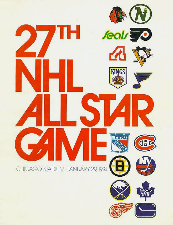 In honour (Canadian spelling) of the return of Hockey Season, this week's #SundaySwinginSeventiesLogos post is the program from the 1974 @NHL #AllStarGame in #Chicago. A great mid-70's font with a bunch of awesome logos...