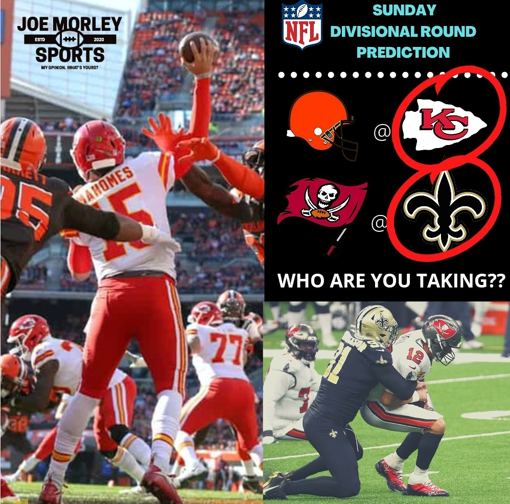 I'm taking the Chiefs and Saints today.  Who are you taking??   #browns #Chiefs #DivisionalRound #ChiefsKingdom #Buccaneers #saints #nfl #NFLPlayoffs