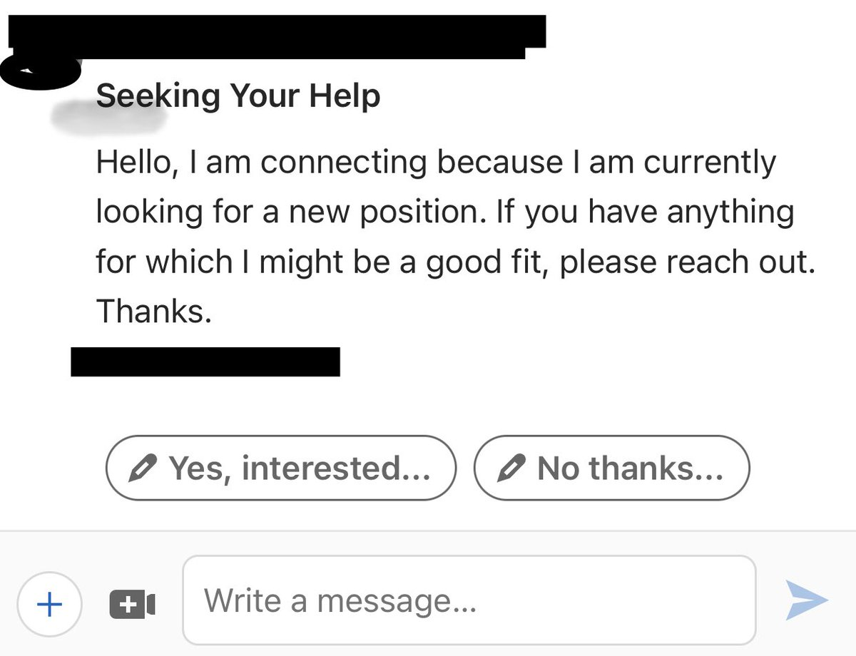 "Recruiters receive notes like this often. If you're going to reach out to us ""seeking help"", ask for something specific. Mention more than, ""you're looking for work"". While recruiters can be amazingly magical sourcing wizards, we aren't 💯 @ mind reading. #jobseekers #networking"