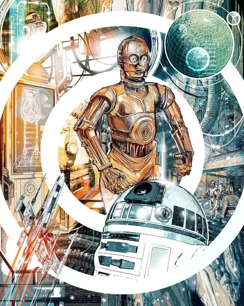 """I am C-3PO, human/cyborg relations, and this is my counterpart R2-D2."" 🎨: @StarWars artist collaboration with Chris Malbon"
