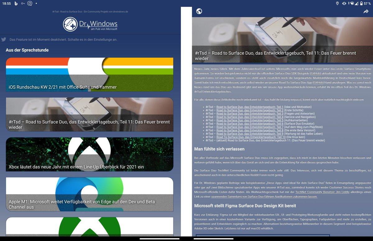 @DrWindows_de #rTsd Betaversion der App funktioniert gut auf meinem #surfaceDuo Hoffe, das hilft zur #mondaymotivation 👍🤗