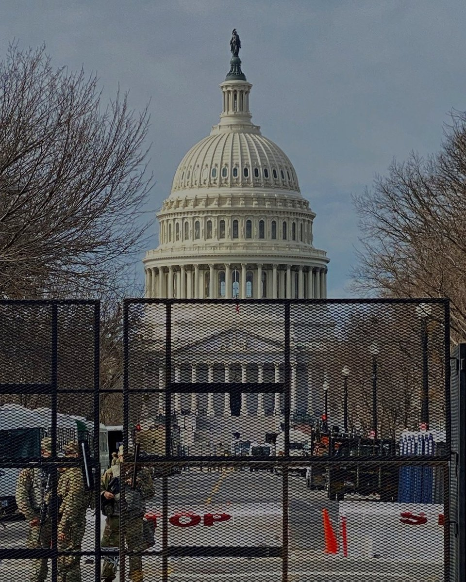 Hard to digest this sight but very thankful for these men and women guarding our nation's capital city. Defenders of democracy—all of them. https://t.co/MoJnj3e3w9