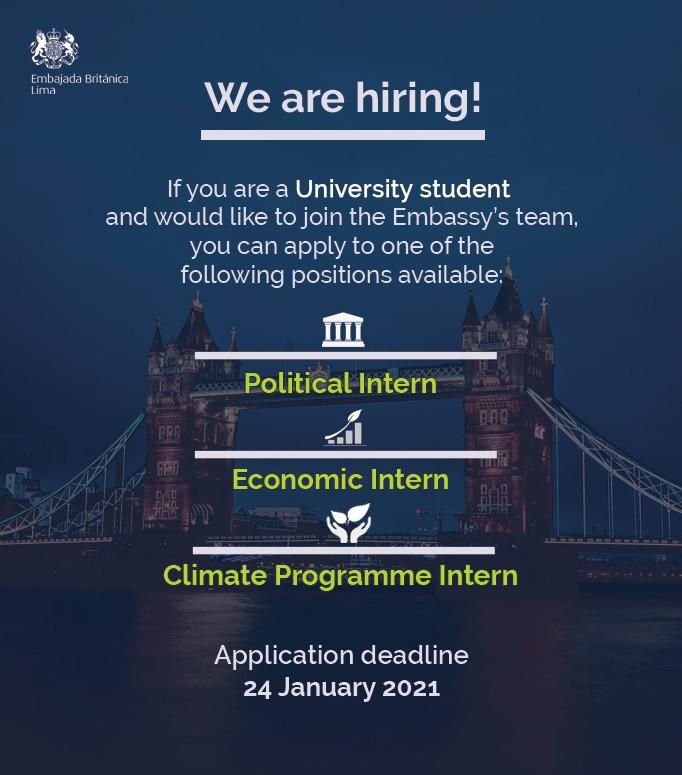 Estamos buscando 3 estudiantes universitarios para que se unan a nuestro equipo de la embajada. 🇬🇧🇵🇪  🏛 Political Intern ➡️https://t.co/ZcmRyfTGEW 💷 Economic Intern ➡️https://t.co/SOpwvqzrlx 🌱 Climate Programme Intern ➡️https://t.co/mvEpOTd9lc  ¡Anímate a postular! https://t.co/Ww6KvW9ak5