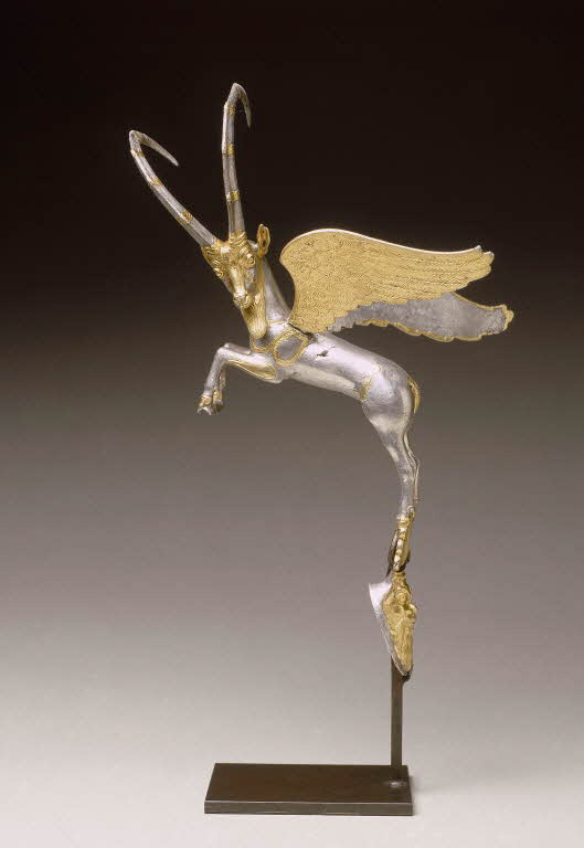 [#WorkOfTheDay] The winged ibex is show about to pounce. The fineness of its body has been achieved thanks to the lost wax casting technique. Its elegant wings and huge horns underline the energy of the animal pose. ☛  #NearEasternAntiquities