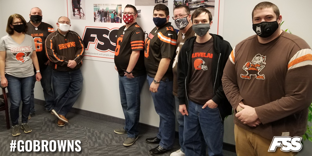"""Friday was our corporate team's """"Browns Spirit Day"""" to show support for the @Browns playoff run. Good luck today against Kansas City! 🤎🧡🏈 #WeWantMore 🏈🧡🤎"""