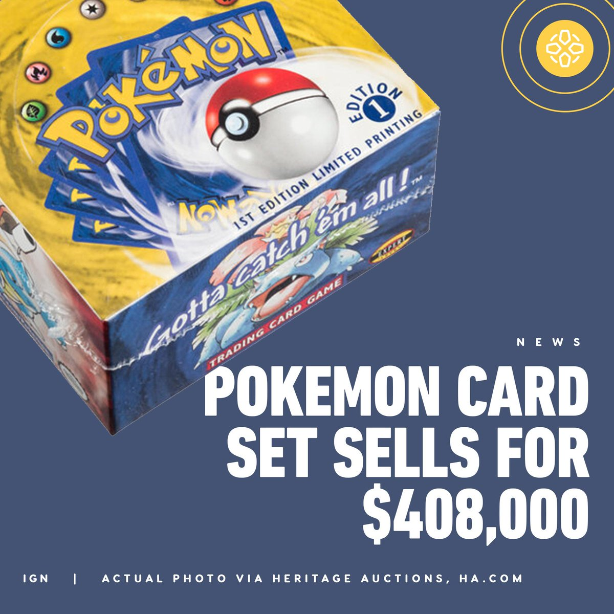 A rare Pokémon Trading First Edition Base Set from 1999 has sold at auction for a record-breaking $408,000. The box contains 396 cards in mint condition.