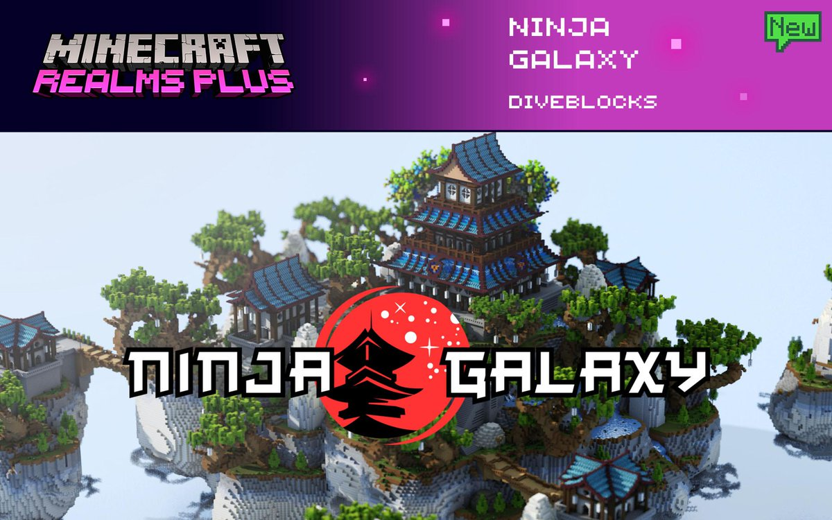 Are you ready to fight with your friends and discover who's the Ninja Master? Explore this awesome survival spawn and find out all their secrets in Ninja Galaxy by @diveblocks. Find it now in Realms Plus!  ⛩️