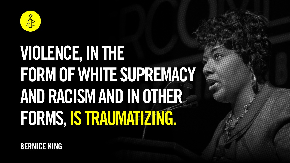"""Violence, in the form of white supremacy and racism and in other forms, is traumatizing. We've been moving on without collective therapy, healing, repair, and eradication of the violence for far too long."" -  via BerniceKing #MLK   01"