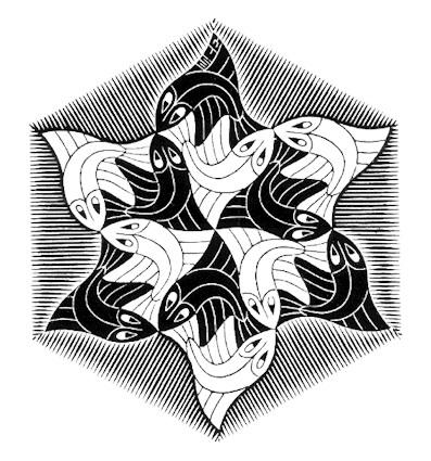 Hexagonal Fish Vignette, 1955  #opart #mcescher