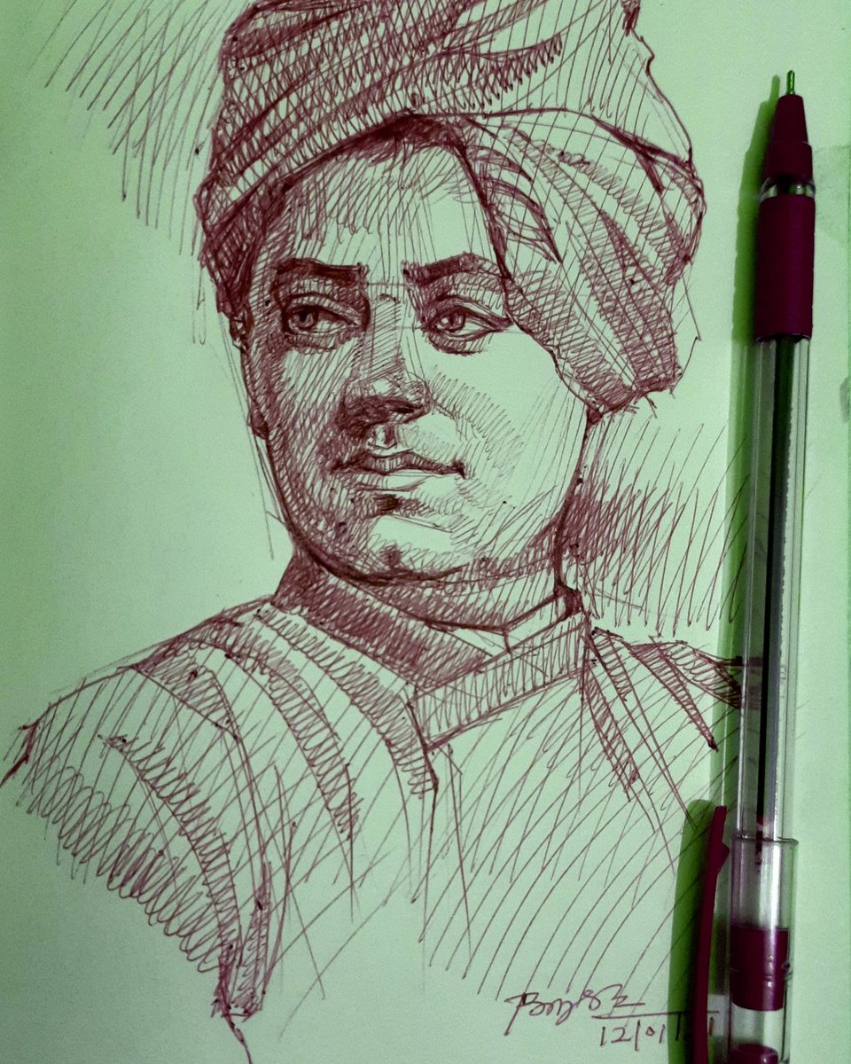 My new portrait #SwamiVivekanandaJayanti #vivekanandquotes #illustration #drawing #art #artistsontwitter #Artist