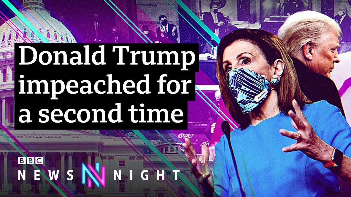 """This week, Donald Trump became the first president in US history to be impeached twice, after being charged with """"incitement of insurrection"""" over the deadly storming of Congress.  The president now faces trial in the Senate.  WATCH MORE ➡️   #Newsnight"""
