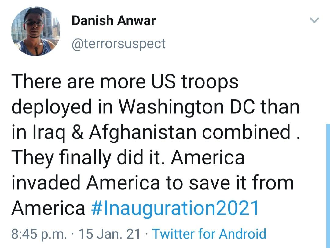 #InaugurationDay2021: more US troops deployed in #WashingtonDC than in #Iraq & #Afghanistan combined; we had to invade ourselves to save ourselves from ourselves...