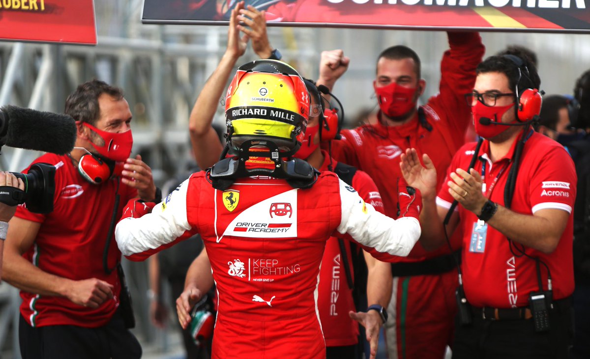 One of the happiest moments of my career. What a day this was! @PREMA_Team @FIA_F2 #KeepFighting
