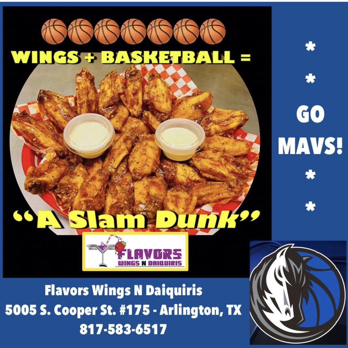 @dallasmavs vs. @chicagobulls TODAY! Got Your Wings & Catfish?  Flavors Wings N Daiquiris 5005 S. Cooper St. #175 Arlington, TX   817-583-6517 #wings #catfish #daiquiris #arlingtonTX #DFW  #Explore #GreatFood  #NBA #GreatCustomerService #BOB  #VeteranOwned