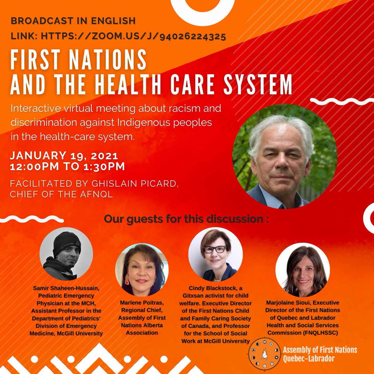Humbled to be on this #SystemicRacism & #Discrimination in #HealthCare roundtable. With @cblackst @marlenelpoitras @SiouiMarjolaine, moderated by @picardghislain #AFNQL This Tuesday January 19th @ noon (EST)! #Fighting4aHand2Hold #JusticeForJoyce facebook.com/events/7770787…