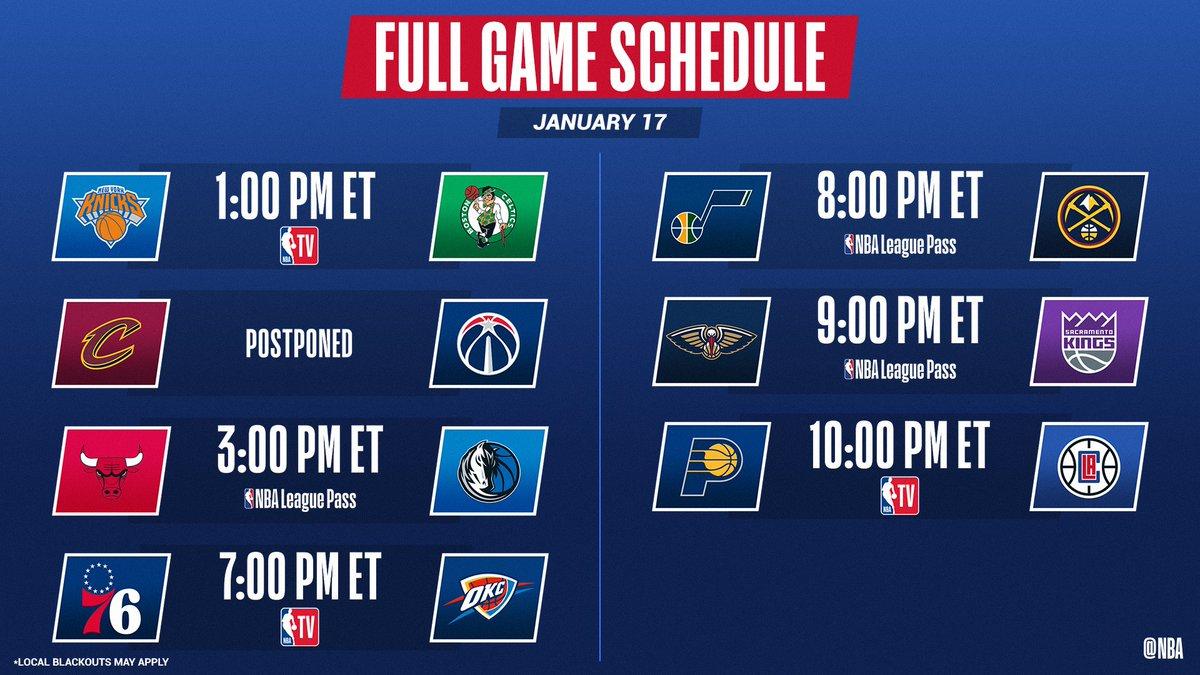 6 games today with an NBA TV tripleheader beginning at 1:00 PM ET. 📺: @NBATV 📱💻: NBA League Pass ➡️: app.link.nba.com/e/leaguepass