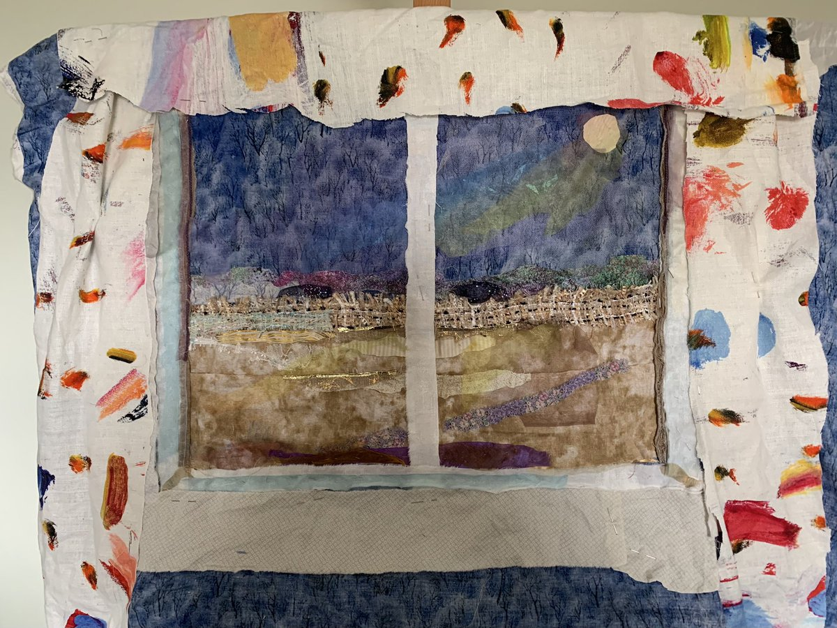#view from a #window. Adding #curtains! #workinprogress #textiles #trompeloeil #fabric #collage #handstitched