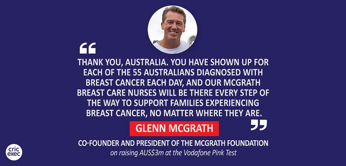 🗨️: Glenn McGrath, Co-Founder and President of the McGrath Foundation (on raising AUS$3m at the Vodafone Pink Test)  ➡️  @CricketAus🇦🇺 @cricketcomau @McGrathFdn @glennmcgrath11 @HockleyNick #CricketAustralia #PinkTest