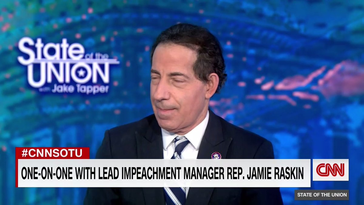 """""""I want people to focus on the solemnity and the gravity of these events. Five Americans are dead because a violent mob was encouraged, exhorted and incited by the president of the [US],"""" Rep. Jamie Raskin, lead impeachment manager, says on the case against Pres. Trump #CNNSOTU"""
