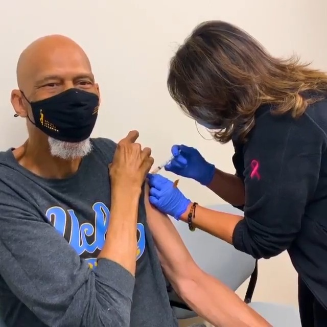 """""""Let's do this together."""" NBA Legend Kareem Abdul-Jabbar (@kaj33) with a message about COVID-19 vaccines. Visit cdc.gov to learn more."""