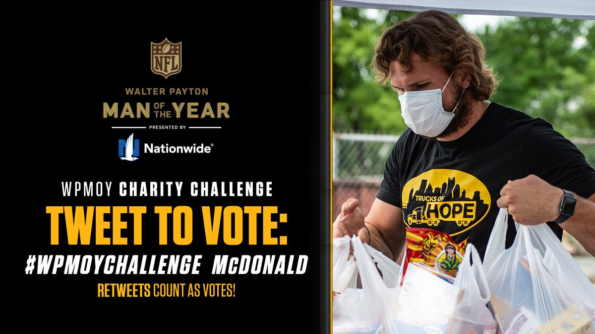 Last day to vote!  To help Vance McDonald win $25,000 for the charity of his choice: • Tweet #WPMOYChallenge + McDonald • Retweet this tweet  @Nationwide