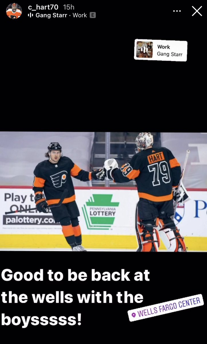 """Carter Hart shares this on Instagram.  """"Good to be back at the wells with the boysssss!"""""""