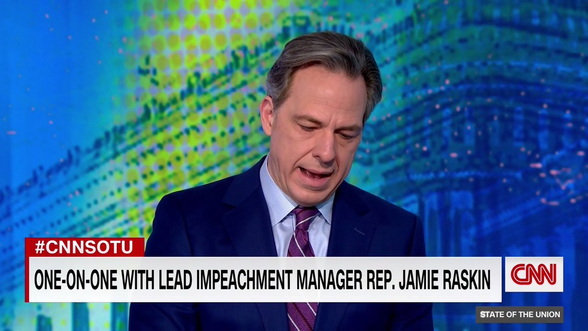 """I'm not going to lose my son at the end of 2020 and lose my country and my republic in 2021,"" Rep. Jamie Raskin says as he presses forward with impeachment articles while mourning his son. #CNNSOTU"