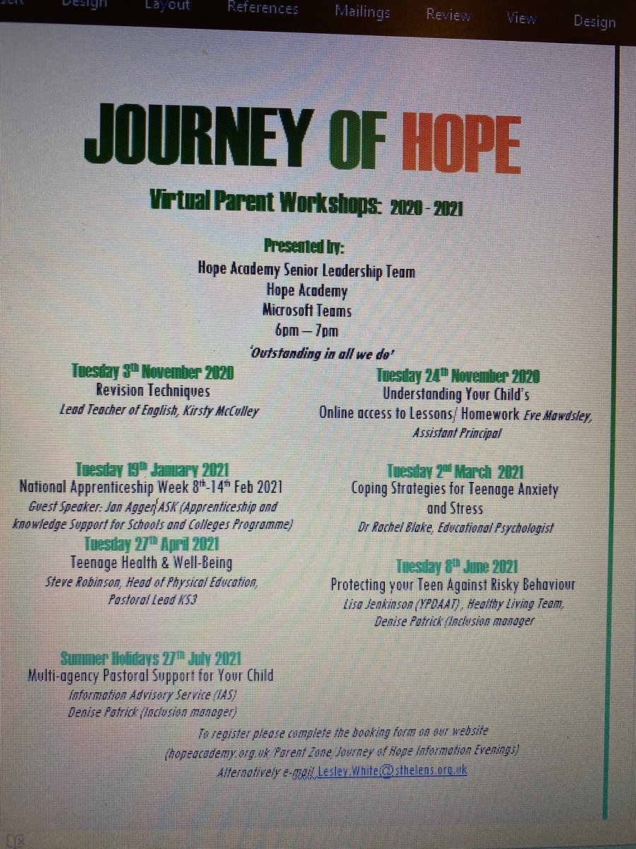 Sign up to our Journey of Hope Parent Workshops. Tuesday 19th January Guest speaker Jan Agger (ASK) informs parents on applying for apprenticeships and careers advice post 16.