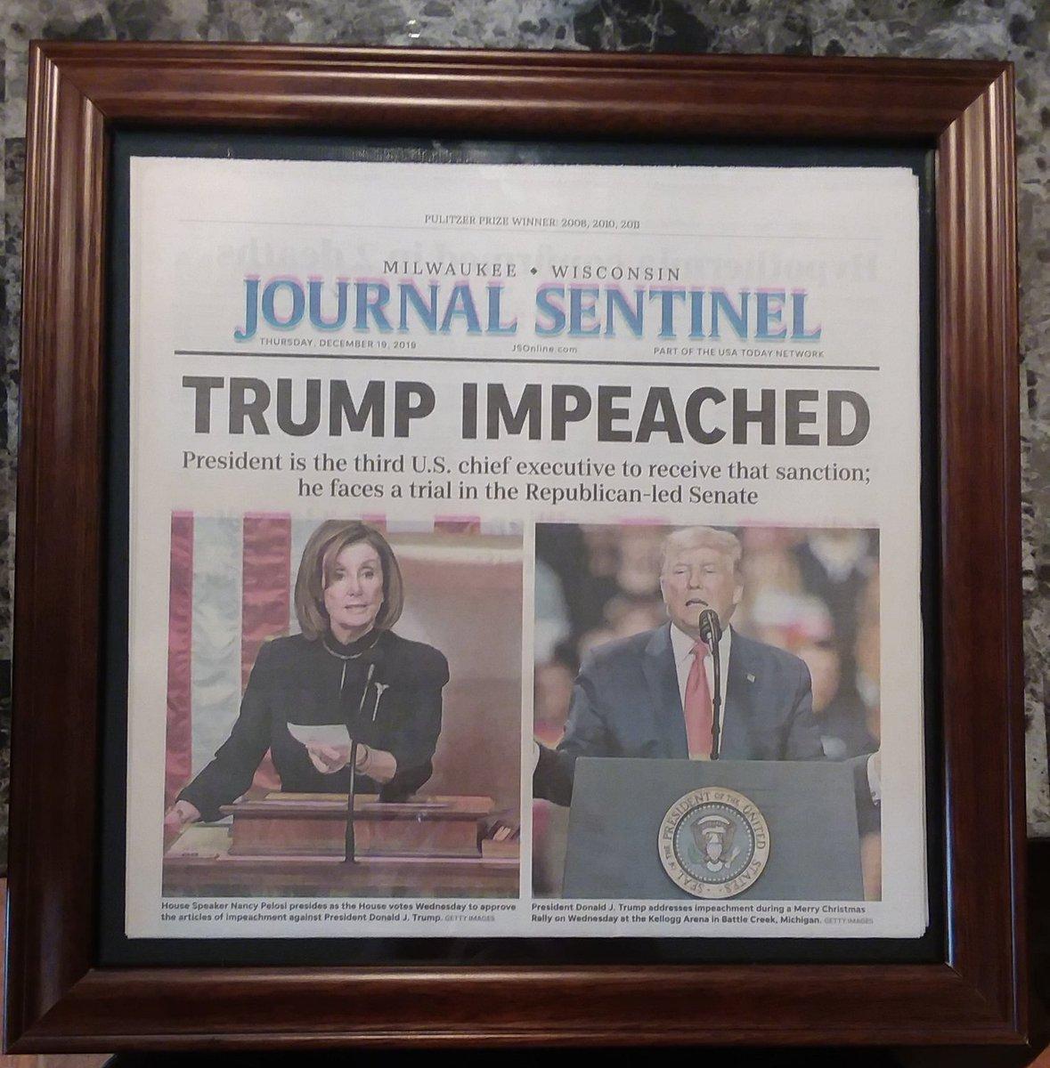 I finally got my 3 favorite newspapers framed up. I've got the perfect place to hang them later today. #BidenHarris2020 #BidenHarrisInauguration #ImpeachmentDay #TrumpImpeachment #TrumpImpeachedTwice