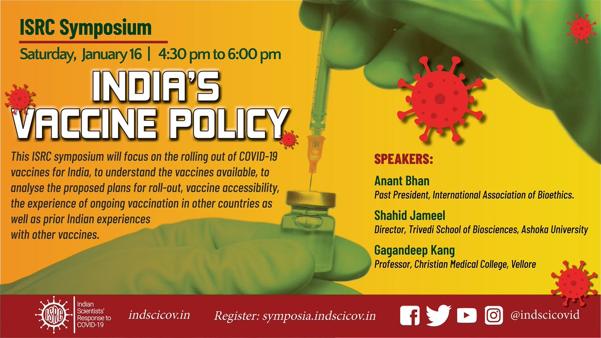 The @IndSciCOVID organized a webinar on India's #Vaccine Policy on 16th Jan 2021 featuring Prof Shahid Jameel, Prof @GKangInd & me, where we discussed all things #COVID19 #vaccines in #India related in detail.  The session recording is available at